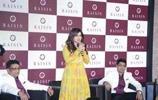 Bhumi Pednekar at the brand launch of Raisin with founders; Courtesy: Parvati Fabrics