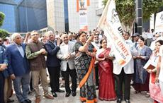 Union minister of textiles flagging of Unity March in Gurugram.