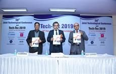 Heads of TRAs (L-R) MN Subramanian (ATIRA), Dr. Arindam Basu (NITRA) and Dr. Anjan K Mukhopadhaya (BTRA) releasing latest publications of NITRA at Tech-Tex 2019 conference.