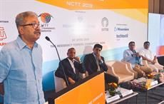 Textiles secretary Raghavendra Singh (extreme left) speaking at NICTT 2019.