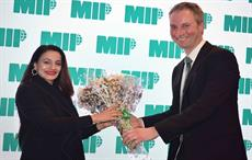 (L-R) Ameesha Patel, Bollywood actress; Tor Lund, President and CEO, MIP; Pic: MIP Inc