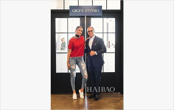 L-R: Gigi Hadid with Tommy Hilfiger