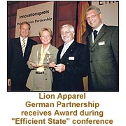"""Lion Apparel German Partnership receives Award during """"Efficient State"""" conference"""