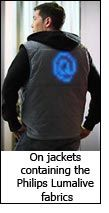 On jackets containing the Philips Lumalive fabrics