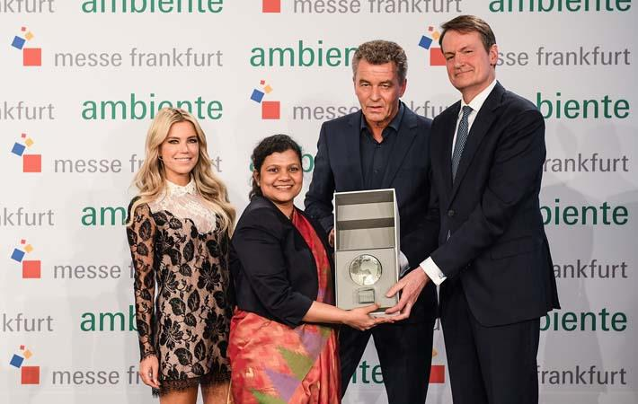 India receives the partner country globe ; Courtesy: Ambiente