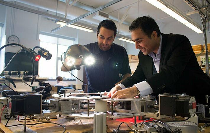 Professor Abbas Milani and graduate student Armin Rashidi using 3D scanning equipment to analyse textile composites. Courtesy: UBC