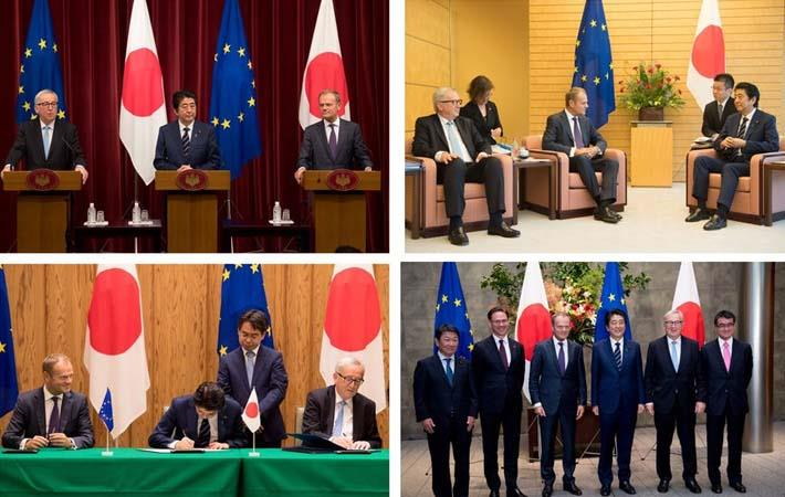 Moments of EPA signing in Tokyo. Courtesy: Twitter handle of Jean-Claude Juncker