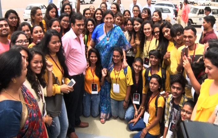 Smriti Irani with IDT students and faculty