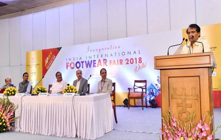 Suresh Prabhu speaking at the 4th India International Footwear fair; Courtesy: PIB