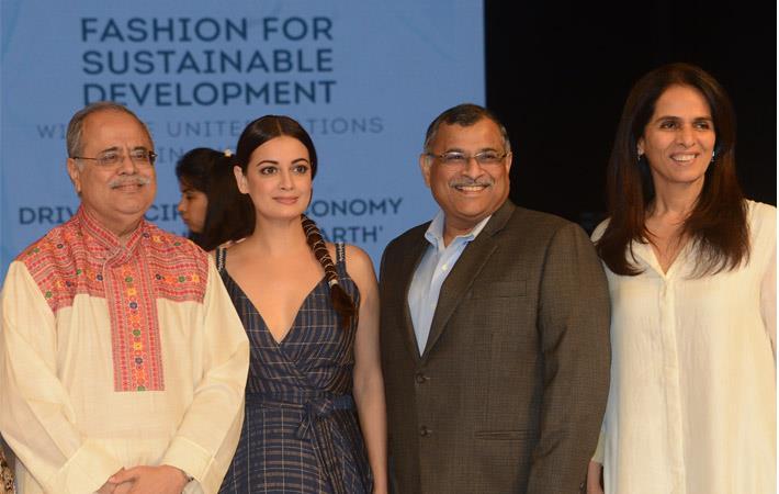 L-R: Atul Bagai, Country Head–India, UN Environment; Dia Mirza, actress & UN Environment Goodwill Ambassador; Vipul Shah, COO–Petrochemicals, RIL; and Anita Dongre, Fashion designer. Courtesy: RIL