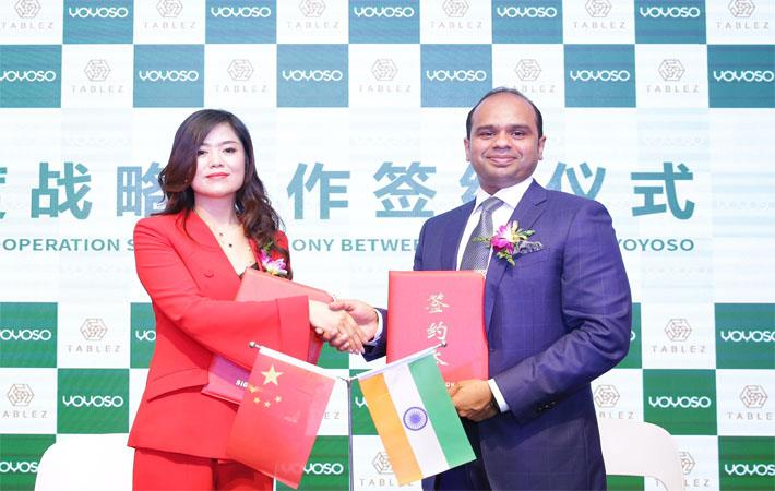 Tablez MD Adeeb Ahamed and Yoyoso brand founder Ma Huan during the agreement signing ceremony Yiwu, China./Courtesy: AETOSWire