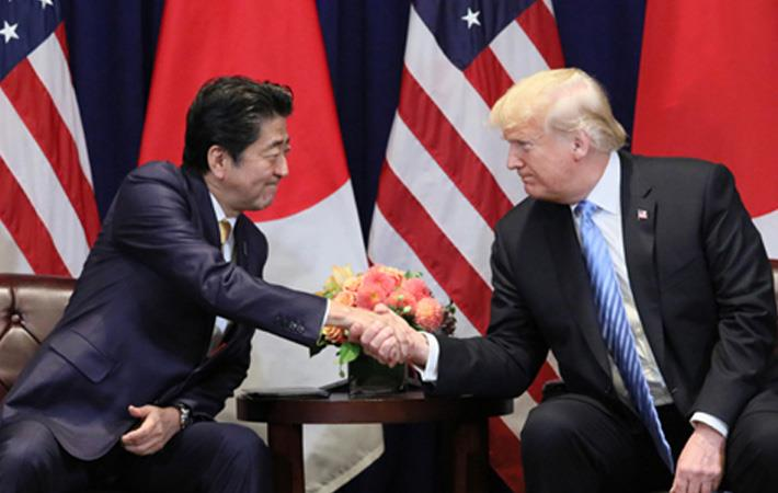 Shinzo Abe (left) with Donald Trump. Courtesy: website of Prime Minister of Japan