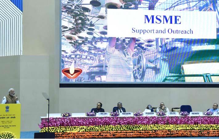 Prime Minister Narendra Modi addressing at the launch of the Support and Outreach Initiative for MSMEs, in New Delhi. Courtesy: PIB