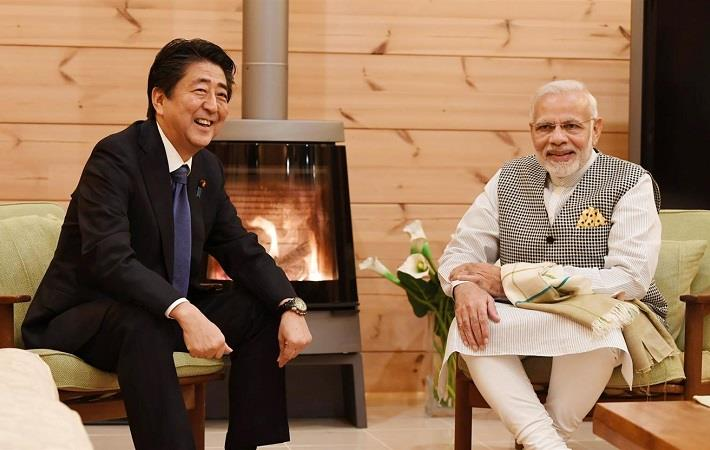 Prime Minister Narendra Modi at the Tete-a-tete with the Prime Minister of Japan Shinzo Abe, in Yamanashi, Japan. Courtesy: PIB