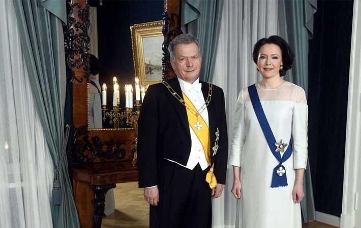 Jenni Haukio (right), with President Sauli Niinistö, in the evening gown made of 100% birch-based Ioncell fabric. Courtesy: Alto University/Vesa Moilanen/Lehtikuva