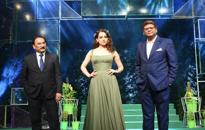 (L-R) Dilip Gaur, Kangana Ranaut and Rajeev Gopal
