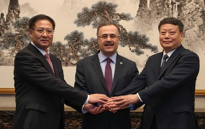 President & CEO of Saudi Aramco, Amin Nasser (center) with chairman of Norinco Group, Jiao Kaihe (left) and Governor of Liaoning Province Tang Yijun (right) in Beijing, China. Pic: Saudi Aramco