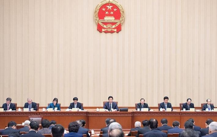 A draft session of the National People's Congress in China.