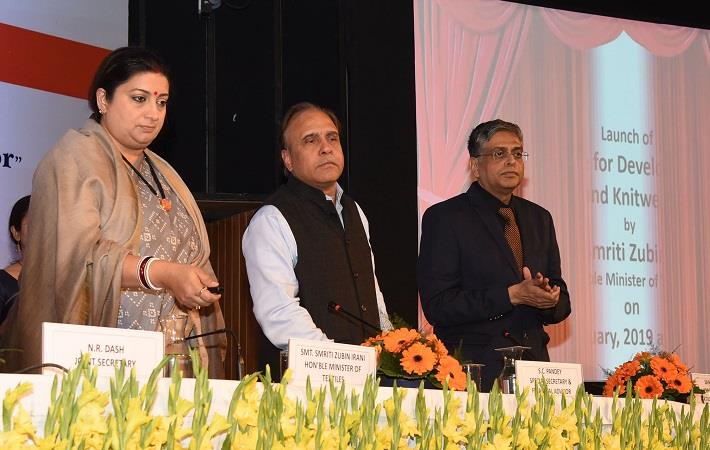 Union textiles minister Smriti Irani (extreme left) launching the schemes for the development of knitting and knitwear sector. Pic: PIB