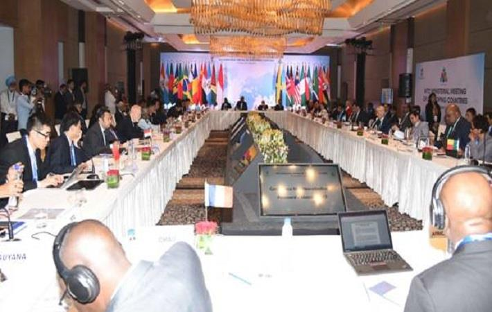 A session of WTO ministerial meeting in New Delhi. Pic: PIB
