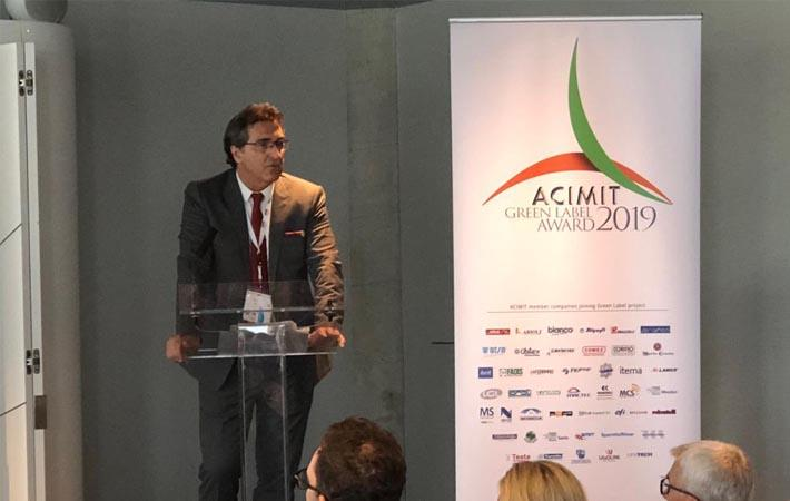 Alessando Zucchi-President of ACIMIT speaking at ACIMIT/ITA press conference at ITMA.