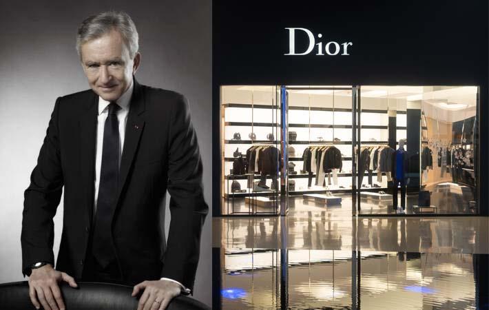 Bernard Arnault (left) and a Dior store. Pic: LVMH/Shutterstock
