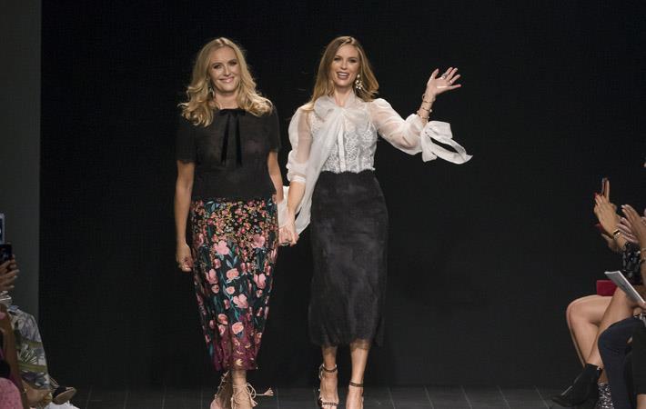 Keren Craig and Georgina Chapman walk the runway at the Marchesa Spring Summer 2018 fashion show during New York Fashion Week./Pic: Shutterstock