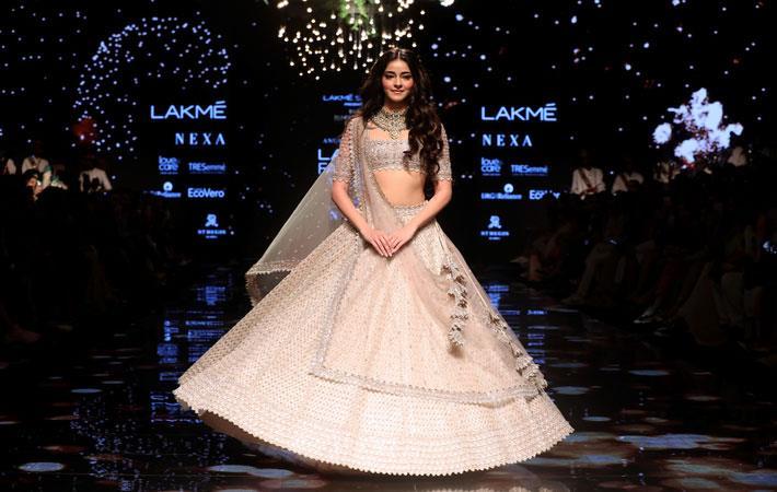 Ananya Pandey for Lakme Salon presents Anushree Reddy at Lakme Fashion Week. Pic: Lakme Fashion Week