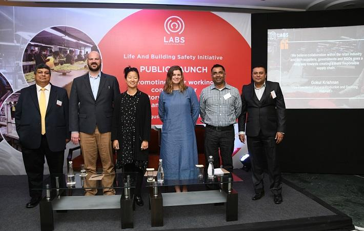 L-R: Pramit Chanda, Global Director, IDH; Kyle Bogler, VF Corp.; Maria Lassen, Bestseller Sustainability; Mallory McConnell, PVH; Kapil Mathur, GAP; Sarobindo Malhotra, Country Manager (India)-LABS