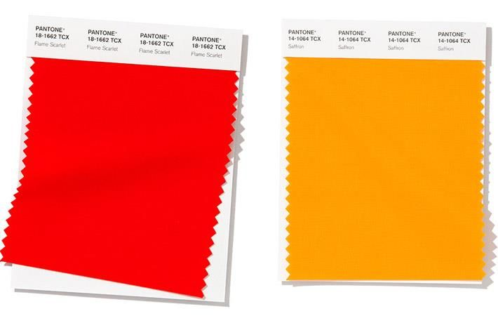 Flame Scarlet (L) and Saffron (R); Pic: Pantone LLC