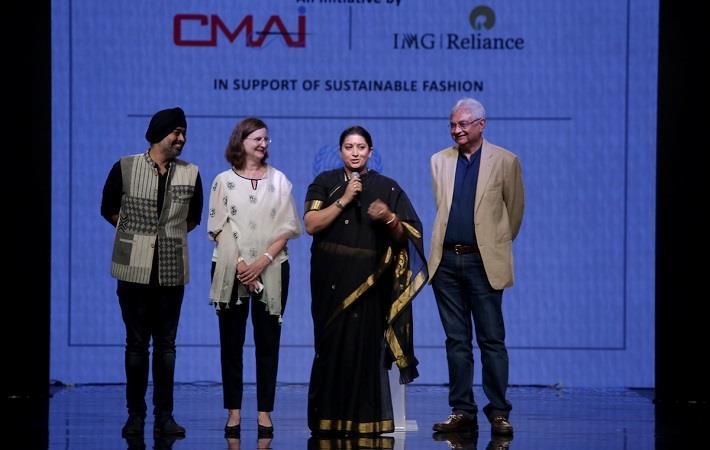 L-R: Jaspreet Chandok, Renata Lok-Dessallien, Smriti Irani, and Rahul Mehta at the inauguration of SU.RE