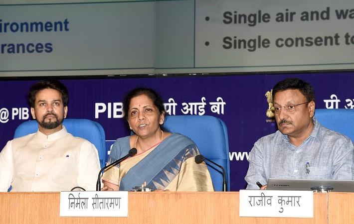 Finance minister Nirmala Sitharaman addressing a press conference. Pic: PIB