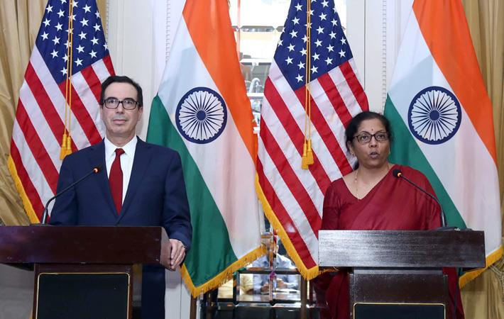 Indian finance minister Nirmala Sitharaman (right) and the US Treasury Secretary Steven Mnuchin addressing a Joint Press Conference in New Delhi on November 01, 2019. Pic: PIB
