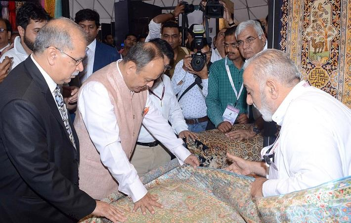 Textiles secretary Ravi Capoor visiting a stall after inaugurating the 48th edition of IHGF fair in Greater Noida. Pic: PIB