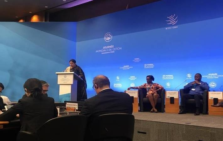 Indian textiles minister Smriti Irani speaking at World Cotton Day programme in Geneva. Pic: PIB