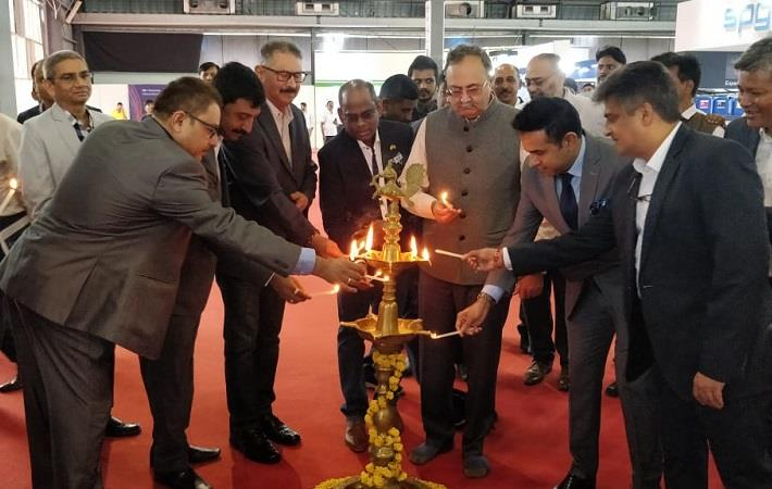 Saurabh Patel, Energy Minister, Govt. of Gujarat (centre) along with other dignitaries, at the inauguration of ITMACH India 2019. Pic: K&D Expositions
