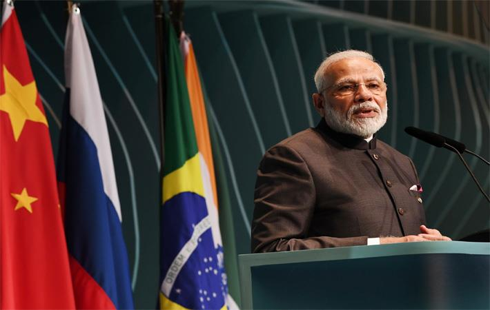 Indian Prime Minister Narendra Modi addressing the BRICS Business Forum, on the sidelines of BRICS Summit, in Brazil on November 13, 2019. Pic: PIB