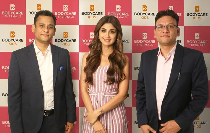 Shilpa Shetty Kundra flanked by Bodycare directors Mithun Gupta (left) and Sachin Gupta, Pic: Bodycare International