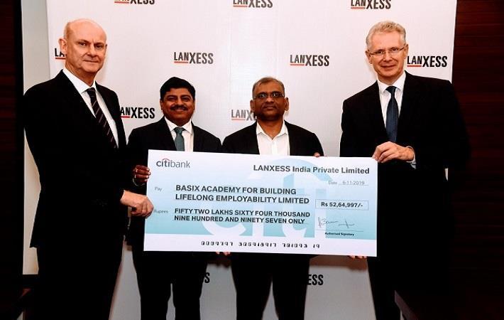 L-R: Dr. Anno Borkowsky, LANXESS AG; Neelanjan Banerjee, Vice Chairman & MD, LANXESS India, Sattaiah Devarakonda, CEO & MD of BASIX; Dr. Rainier van Roessel, LANXESS AG. Pic: LANXESS