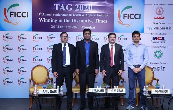 L to R: Anil Nair, President, Shubhalakshmi Polyester Ltd; B Prakash, Associate Director, Wazir Advisors; GV Aras, Director, ATE Enterprises; and Akshar Chandra, Birla Cellulose. Pic: FICCI