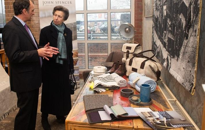 The Princess Royal visiting John Spencer Textiles; Pic: UKFT/ Andy Ford