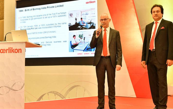 Jürgen Vogel and Debabrata Ghosh opened the technology symposium in Daman. Pic: Oerlikon