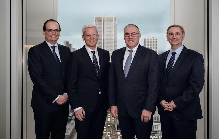 From (L-R): Jochen Franke (CFO, STOLL); Andreas Schellhammer (CEO, STOLL); Arno Gärtner (CEO, Karl Mayer), Dr. Helmut Preßl (CFO, KARL MAYER); Pic: Karl Mayer
