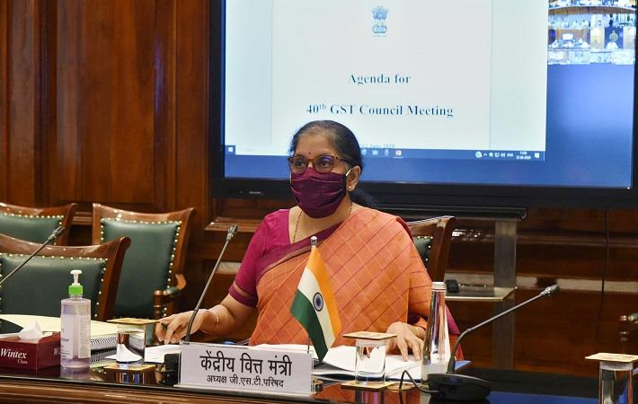 Union finance minister Nirmala Sitharaman chairing the 40th GST Council meeting via video conferencing in New Delhi on June 12. Pic: PIB