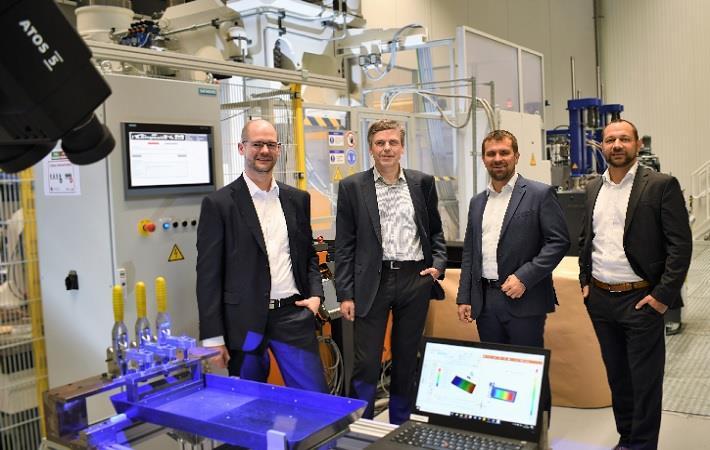 (from L-R) Dr. Michael Emonts, Warden Schijve, Philipp Fröhlig & Dr. Kai Fischer at AZL Tech Center. Pic: AZL
