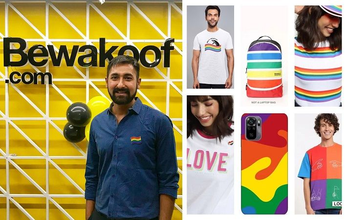 Bewakoof CEO & founder Prabhkiran Singh (left) and styles from limited edition Pride collection. Pics: Bewakoof