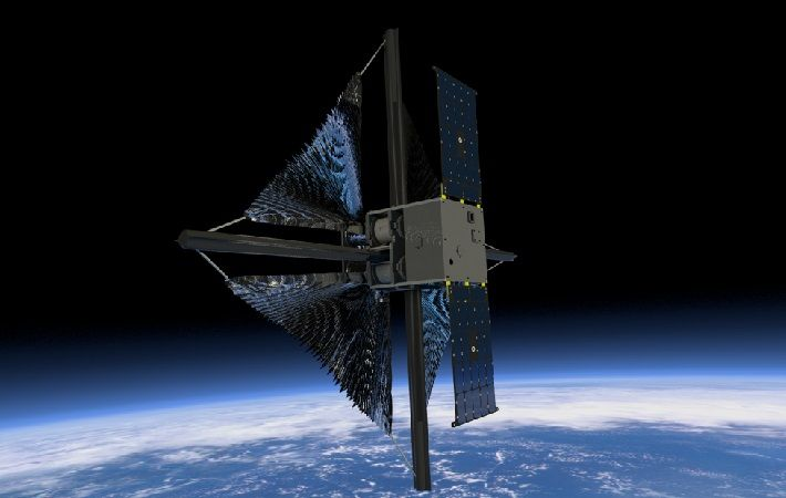 Illustration showing the solar sail beginning to unfurl after deployment of the spacecraft