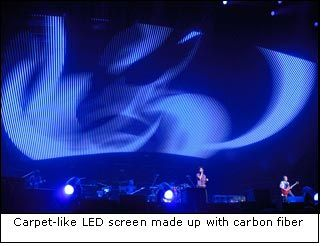 Carpet-like LED screen made up with carbon fiber