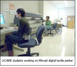 UCARE students working on Mimaki digital textile printer
