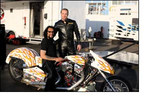 Bike builder Jesse James wears Vanson Drag Race Suit (DR2)
